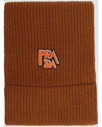 Prada - Wool Ribbed Logo Scarf In Brown - Lyst
