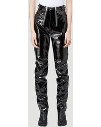 GmbH Exposed-zip Vinyl Pants - Black