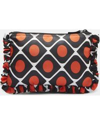 La Doublej Editions - Pomodorini Ruffled Pouch In Red, Black And White - Lyst