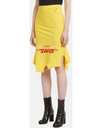 Vetements Inside Out 'dhl' T-shirt Skirt In Yellow