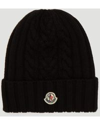 Moncler Cable-knit Beanie Hat In Black
