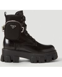 Prada Patch-pocket Leather Ankle Boots - Black