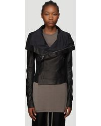 Rick Owens Leather Biker Jacket In Black