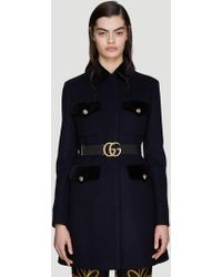 Gucci Tailored Wool Coat In Blue