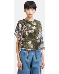 Anntian - Floral Print Silk Cropped Top In Multi - Lyst