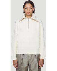 Acne Studios Kelanie Half-zip Ribbed Sweater In White