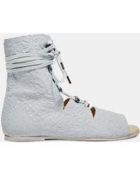 Barny Nakhle Women's Xxii Creased Leather High Sandals In White