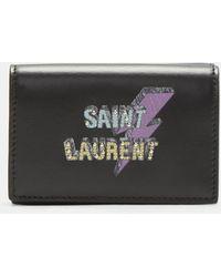 Saint Laurent - Lightning Bolt Compact Wallet In Black - Lyst