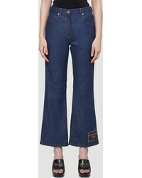Gucci Logo-patch Cropped Jeans - Blue