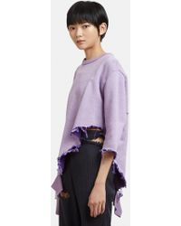 Facetasm - Destroyed Embroidered Sweater In Purple - Lyst