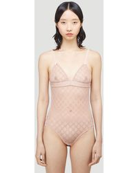 Gucci GG Logo Sheer-lace Bodysuit - Natural