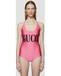 Gucci - Logo Swimsuit - Lyst