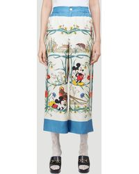 Gucci X Disney Floral Trousers In White