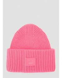 Acne Studios Face Beanie Hat - Pink