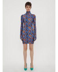 Vetements - Floral Print Glove Sleeve Jersey Dress - Lyst