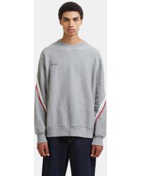 Facetasm - Asymmetric Striped Knit Panel Jumper In Grey - Lyst