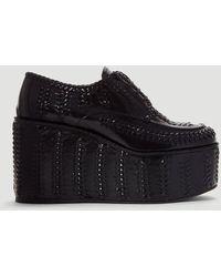 Prada Stitched Wedges - Black