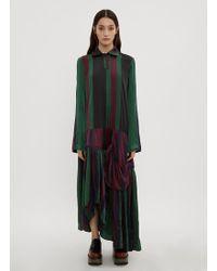 JW Anderson - Striped Drop-waist Hoop Dress In Green - Lyst
