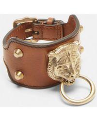 Gucci - Leather Feline Cuff In Brown - Lyst