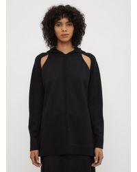 Yang Li - Cut Out Knit Hooded Jumper In Black - Lyst