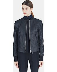 Paco Rabanne Women's Leather Bomber Jacket In Black - Brown