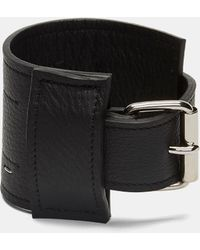 Ribeyron - Unisex Leather Stapled Cuff Bracelet In Black - Lyst