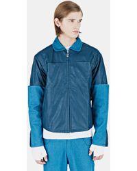 Telfar - Men's Leather Denim Sleeve Jacket In Turquoise - Lyst