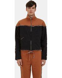 Telfar - Men's Bi-colour Raw Layered Track Jacket In Black And Brown - Lyst