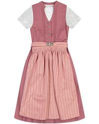 Lodenfrey Mädchen-Dirndl mit Bluse und Schürze - Pink