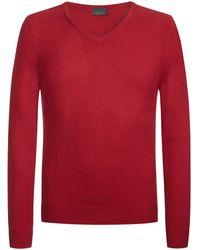 Lodenfrey V-Neck Pullover - Rot