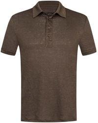Ermenegildo Zegna Leinen-Polo-Shirt - Braun