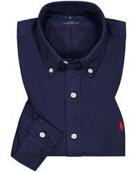 Polo Ralph Lauren Featherweight Twill Casualhemd Slim Fit - Blau