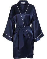 Olivia Von Halle Mimi Seiden-Kimono - Blau