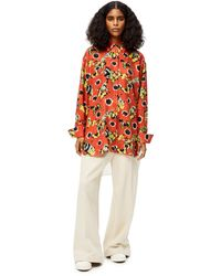 Loewe Luxury Pansies Oversize Shirt In Silk And Cotton - Red