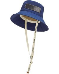 Loewe Luxury Fisherman Hat In Canvas And Calfskin - Blue