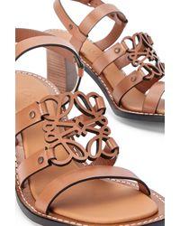 Loewe Luxury Anagram 70mm Sandal In Calfskin - Brown