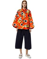 Loewe Luxury Cropped Elasticated Trousers In Cotton - Blue