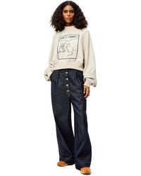 Loewe Luxury Oversize Jeans In Washed Denim - Blue