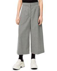 Loewe Luxury Houndstooth Cropped Trousers In Wool - Grey