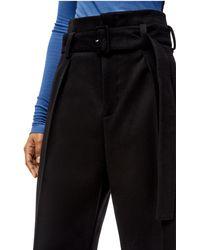 Loewe Luxury Belted Trousers In Wool - Black