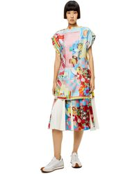 Loewe Luxury Doll House Pleated Skirt In Silk And Cotton - Blue