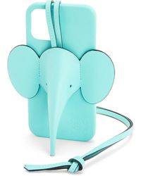 Loewe Luxury Elephant Phone Cover In Calfskin For Iphone 12 Pro Max - Blue