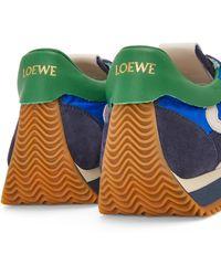 Loewe Luxury Flow Runner In Nylon And Suede - Blue