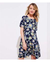 LOFT - Petite Maternity Floral Paisley Short Sleeve Swing Dress - Lyst