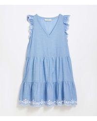 LOFT Embroidered Chambray Flutter Dress - Blue