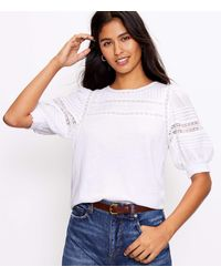LOFT Petite Lacy Puff Sleeve Mixed Media Top - White