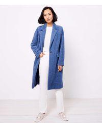 LOFT Cozy Herringbone Coat - Blue