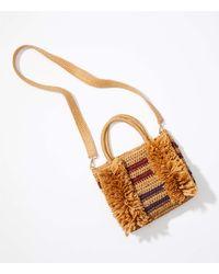 LOFT Fringe Straw Crossbody Bag - Natural