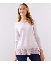 986ad6b4b9e LOFT - Bouquet Flounce Mixed Media Sweater - Lyst