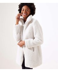 LOFT Petite Fleece Funnel Neck Coat - Multicolor